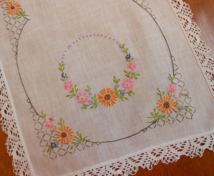"Linen Table Runner Hand Embroidery Orange Gray Blue Pink Brown with Wide Lace Trim 13x 35"" Vintage Party Holiday Wedding Linens, Fall Colors by VintageBabyByKay on Etsy"