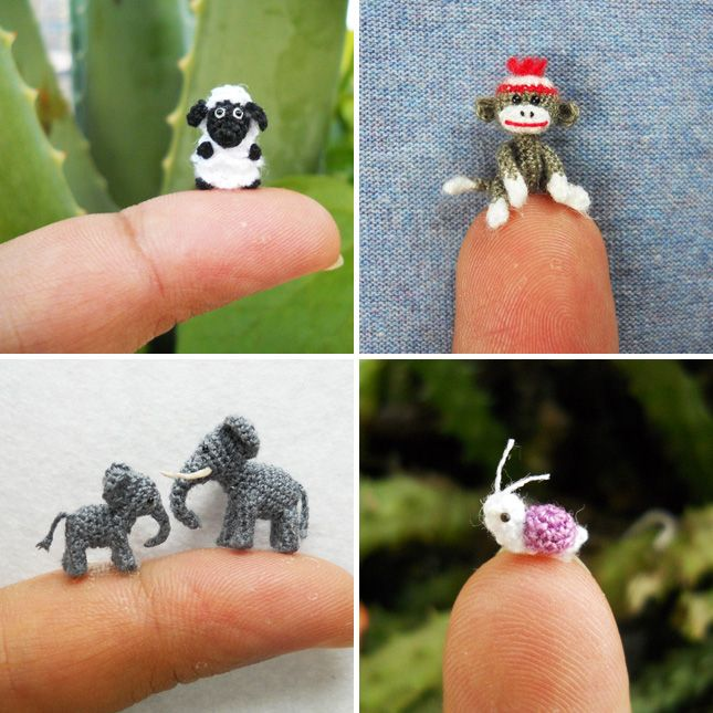 Tiny Crocheted animals - not even going to try but they are just so cute!