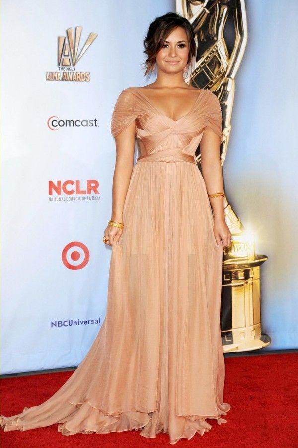 54194170961b Demi Lovato ALMA Award Backless Champagne Celebrity Dress #celebrities  #celebrity #celebritynews #celebritystyle #fashion #dresses #dressshoes  #redcarpet ...