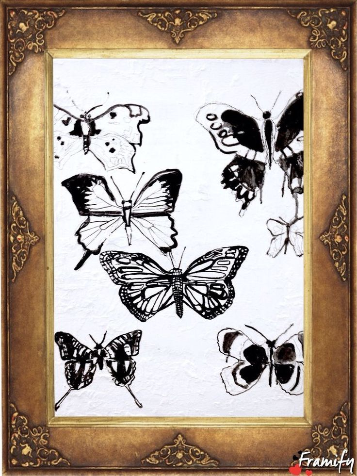 WALL ART Butterflies pen and ink drawing