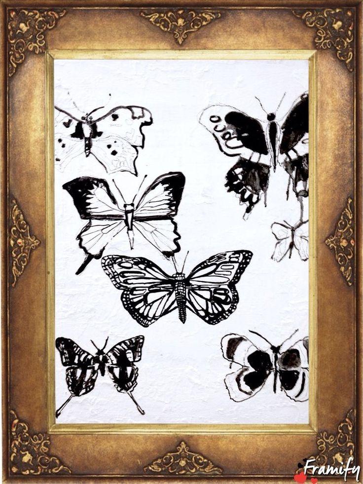 WALL ART Butterflies pen and ink drawing