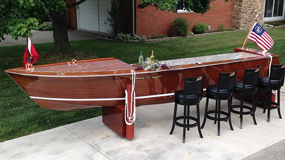 An expertly restored, 17 ' Chris Craft wooden speed boat bar ...