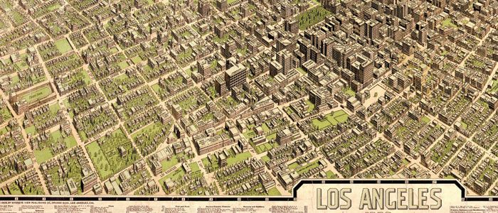 Bird39s Eye View Publication Company39s Map Of Los Angeles