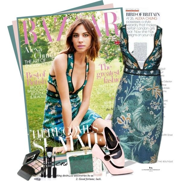 Alexa Chung for Harper's Bazaar in Burberry Prorsum FW 2015 by mrekulli on Polyvore featuring polyvore fashion style Charlotte Olympia Givenchy Nicholas Kirkwood Eyeko Burberry