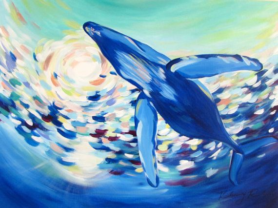 Blue Whale Painting (18*24) by Kelsey Rowland- whale art beach sea animal nautical decor wall art pastel water ocean painting