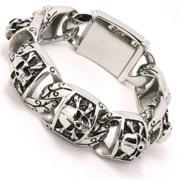 Gothic Stainless Steel Biker Skull Bracelet //Price: $55.69 & FREE Shipping //     #skull #skullinspiration #skullobsession #skulls