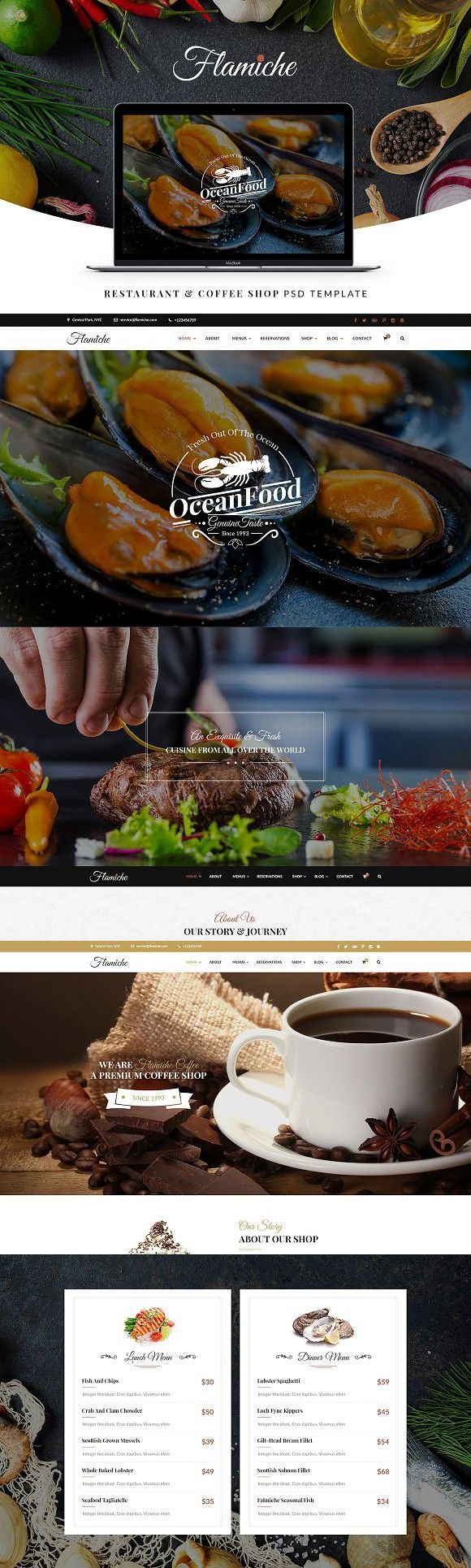 Flamiche - Restaurant PSD Template. Website Templates