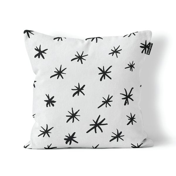 Star Scatter Cushion Cover   Cushion cover size: 45 cm x 45 cm.  (Inner not included.)   Screen printed onto a pure white, medium weight 100% cotton upholstery fabric.   Only printed on the front.  Back of the cushion is the same fabric as front.