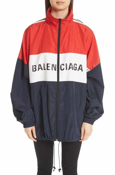 d845da576 Save on Balenciaga Logo Colorblock Windbreaker Jacket | Women ...