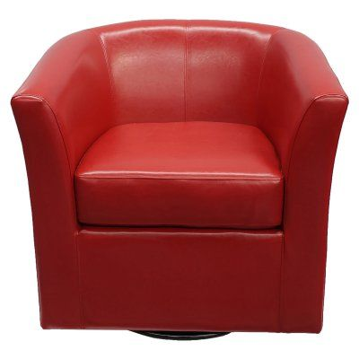 Best Selling Home Swivel Barrel Chair Red - 296640