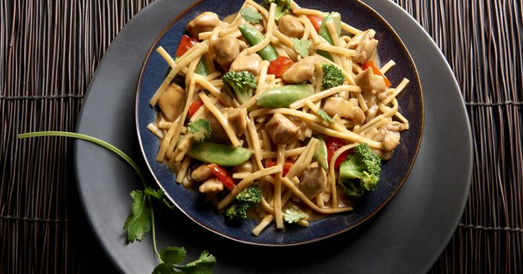 Kluski Noodles with Asian Vegetables and Chicken in Spicy Peanut SauceClassic – Asian flavors come together for a sweet and spicy family meal made with No Yolks noodles that are always smooth, firm and delicious.