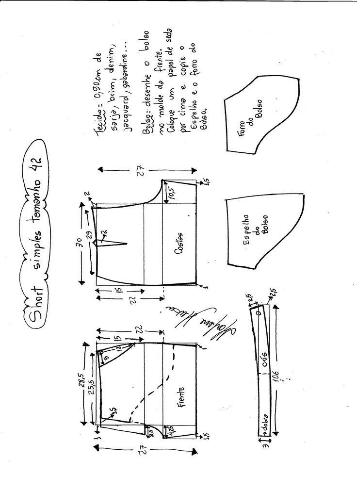 Esquema de modelagem de short simples cós médio tamanho 42.