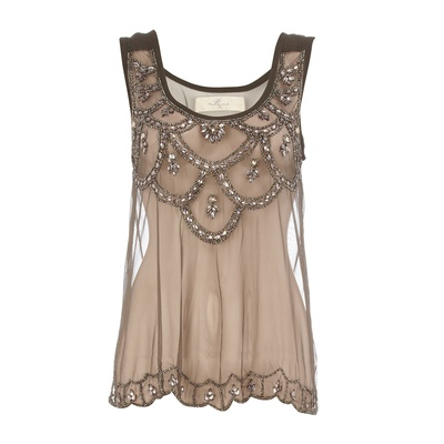 Brown Lace Top  Sooo pretty!: Gorgeous Tops, Beads Tops, Cute Tops, Overlays Tops, Beaded Top, Tops Lovelovelov, Taupe Tops, Lace Tops Just, Tops Sooo