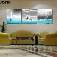Niebieski Statki Żagiel Na Morze Krajobraz Art Decor Malarstwo Na Płótnie szary Sky Zdjęcia Ścienny Do Wystroju Pomieszczenia 3 Sztuka/zestaw Bez Ramki(China (Mainland))