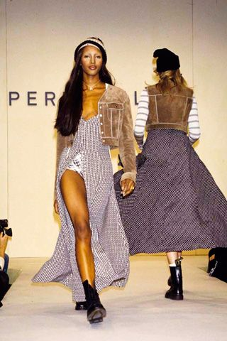Naomi Campbell, on the Perry Ellis by Marc Jacobs Spring 1993 runway.: