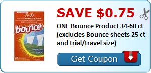 New Coupon!  Save $0.75 ONE Bounce Product 34-60 ct (excludes Bounce sheets 25 ct and trial/travel size) - http://www.stacyssavings.com/new-coupon-save-0-75-one-bounce-product-34-60-ct-excludes-bounce-sheets-25-ct-and-trialtravel-size/