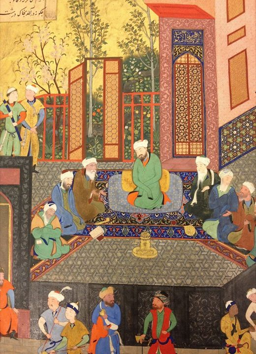 Iskandar with the seven sages, dated AH 900 (1495/95)  ascribed to Bihzad.