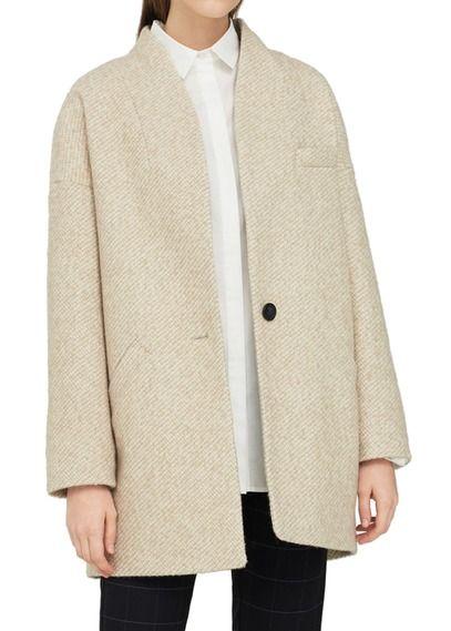 Manteau droit en laine mélangée Beige by MANGO