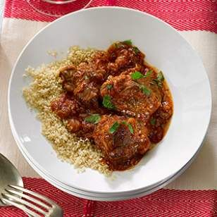 In this healthy lamb stew recipe, rhubarb contributes a savory-tart flavor...could also use pork shoulder