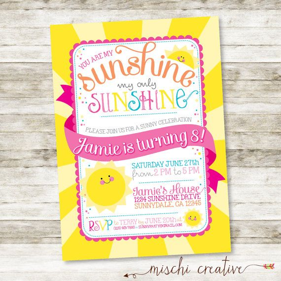 You are My Sunshine My Only Sunshine Little Girl's Birthday Party Invitation by MischiCreative