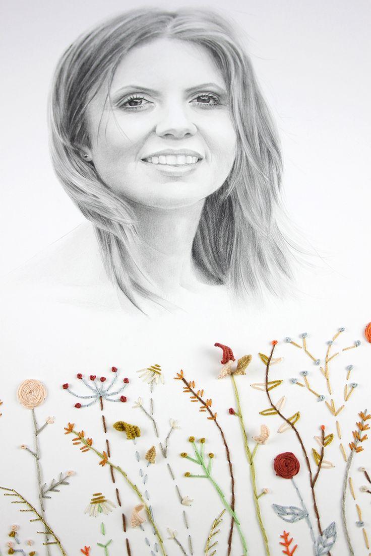 Retrato femenino dibujado a lápiz y flores bordadas sobre papel Pencil drawing and embroidery portrait