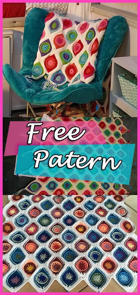 Retro Ornament Graphic Fall Throw Blanket Free Pattern Crochet ...