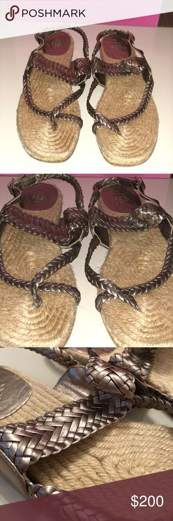 Hermès Quindi Silver Espadrille Sandals Worn only once. These gorgeous sandals are perfect for the beach and a staple for the summer. No imperfections on the shoe other than the sole. In a very pretty metallic silver color. No original box included Hermes Shoes Espadrilles