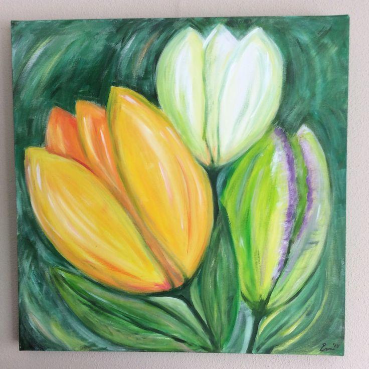 Tulpen gekleurd doek 60x60 acryl - Erna Feijge