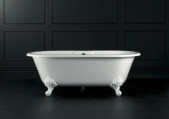 Victoria and Albert's Cheshire Bath is crafted of a composite material called Englishcast, a blend of volcanic limestone and resin that results in a naturally white tub. It doesn't have a surface coating that can chip or peel, and has better insulating qualities than traditional cast-iron tubs.