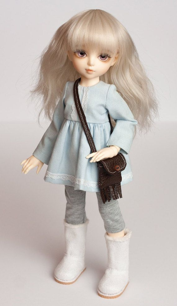 FREE SHIPPING BJD Clothes 1/6 YoSD Tiny LittleFee, sky blue denim dress, puffed skirt, cotton lace, grey leggings pants, faux leather bag
