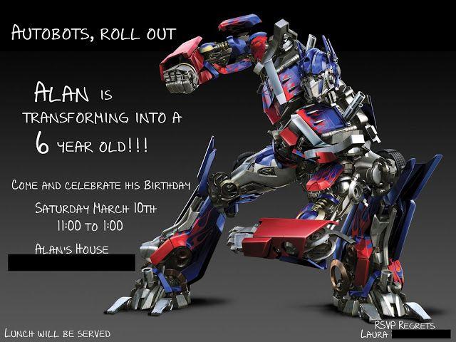 18 best transformers Birthday Invitations Ideas images on Pinterest