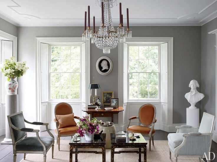 """classic Grey- Bruce Shostak design for his 1817 country house. Love the touches of warm brown and gold in the cool grey """"marble"""" palette"""