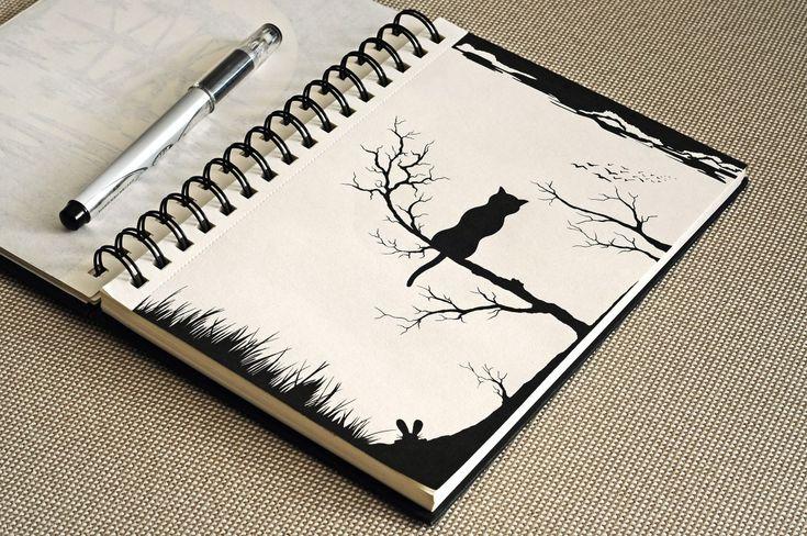 рисунок ручкой, графика, силуэт, дерево, кот, животное, sketch