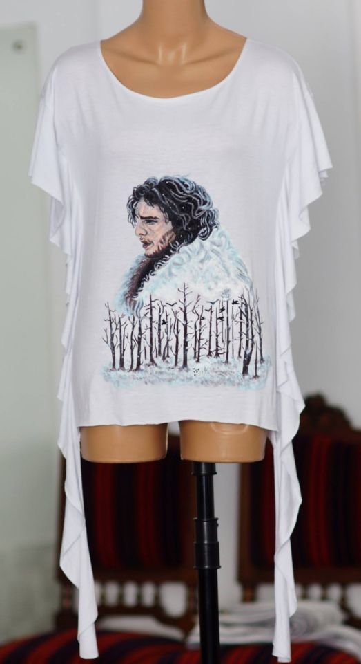 Handmade painted blouse with textile colors. Jon Snow art illustration. Game of Thrones