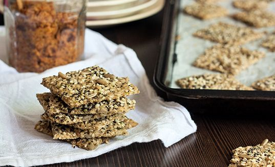 """Did you know you can make your own crackers? Try these """"pumped up seeded"""" ones #homemade #crackers"""
