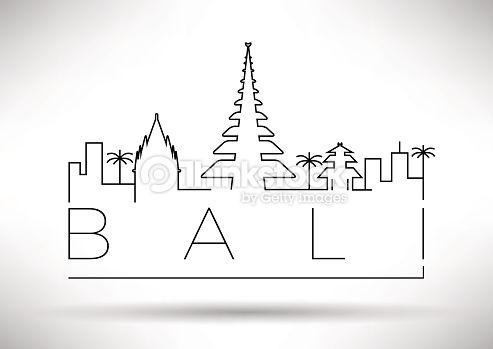 Vector Art : Bali City Line Silhouette Typographic Design