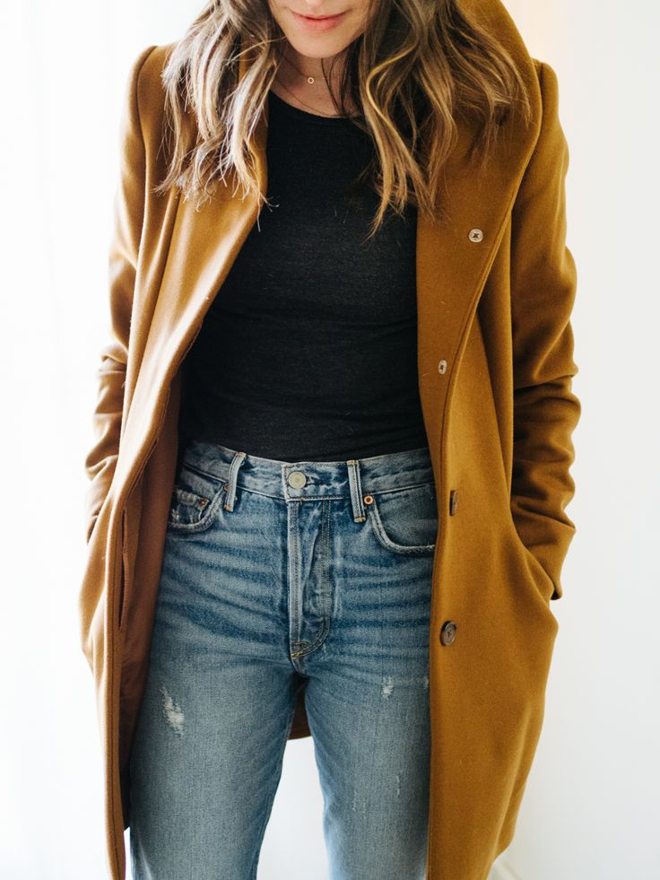 Aritzia Winter Coat, Girlfriend Jeans
