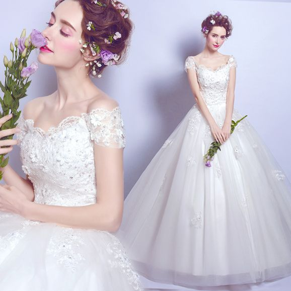 Luxury lace flowers sexy word shoulder princess wedding dress $119   => Save up to 60% and Free Shipping => Order Now! #fashion #woman #shop #diy  http://www.weddress.net/product/luxury-lace-flowers-sexy-word-shoulder-princess-wedding-dress