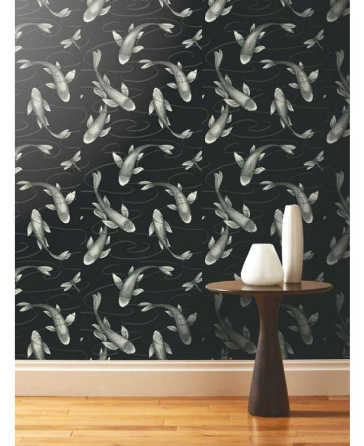 This A Shade Wilder Koromo Koi Wallpaper features beautiful metallic silver koi carp with light reflecting scales on a black background. Free UK delivery available