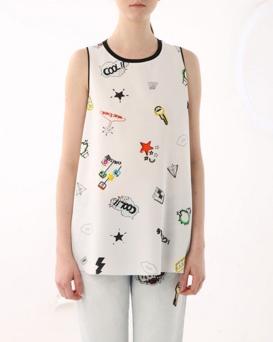 Sleeveless Top - Abstract Pond SS 2 by VIDA VIDA Really Cheap Price IdwekdLY