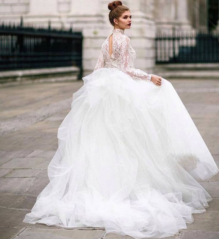 Ersa Atelier french lace ball gown with hand draped tulle full skirt