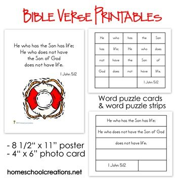 Bible Verse Printables for preschool and elementary aged children.