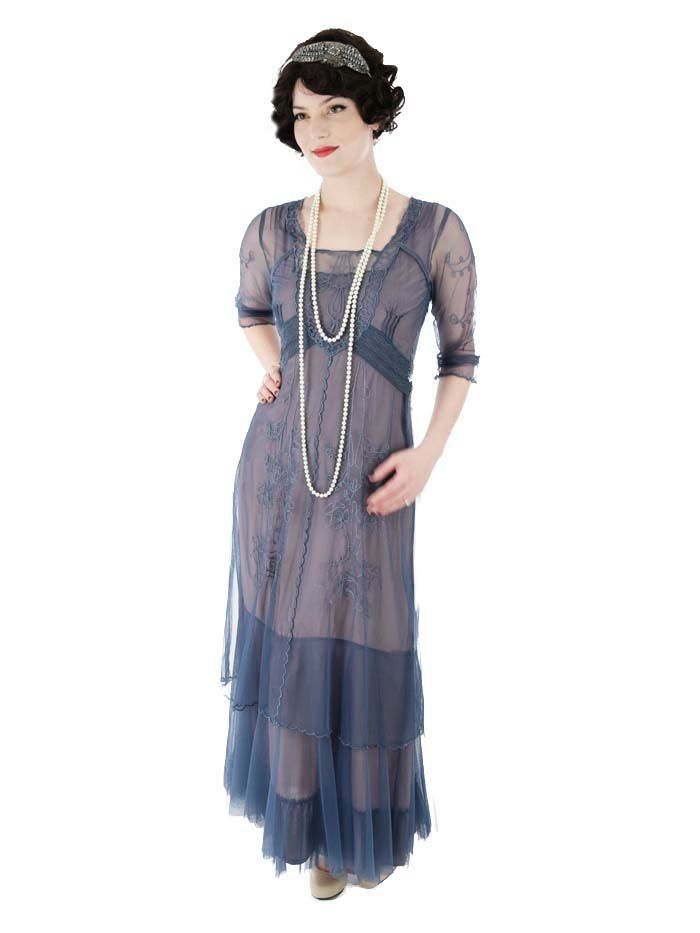 Romantic Embroidered Blue Tulle Edwardian Inspired Gown