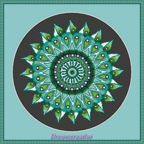 Mandala Teardrops groen - download kruissteek borduurpatroon - 178 x 177 kruissteken - 32 x 32 cm