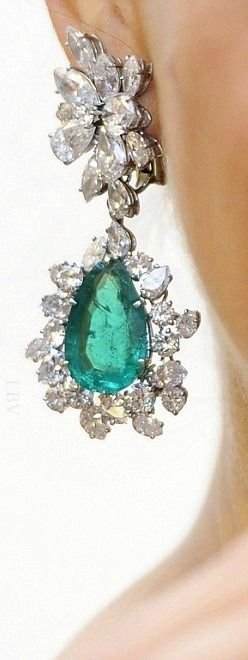 Dazzling: A pair of pear-shaped emerald and diamond Bulgari earclips | LBV ♥✤
