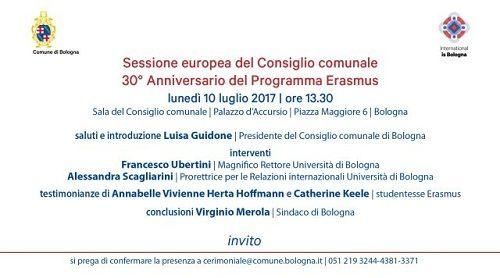 Domani sessione europea del Consiglio comunale di Bologna dedicata al 30 anniversario del programma Erasmus
