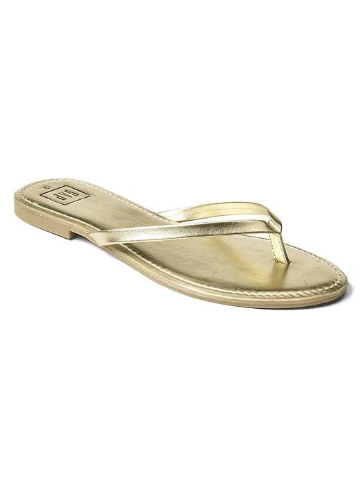 Gap Womens Leather Flip Flops Gold