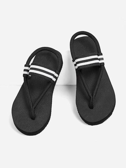 c6c82e8cc815 Striped Detail Toe Post Sandals