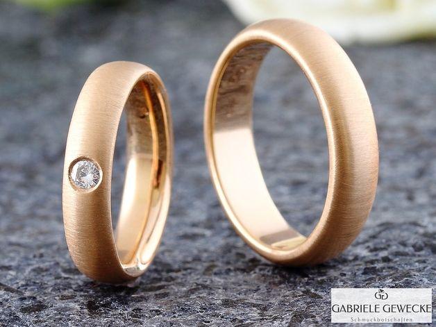Eheringe - Eheringe mit Diamant, 4 & 5mm, 585 Rosègold... - ein Designerstück von Schmuckbotschaften bei DaWanda