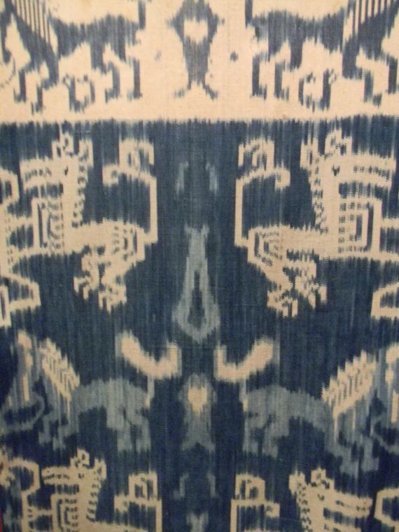 RARE Vintage Indigo Ikat Indonesian Handwoven Textile by Luxethnik, $750.00